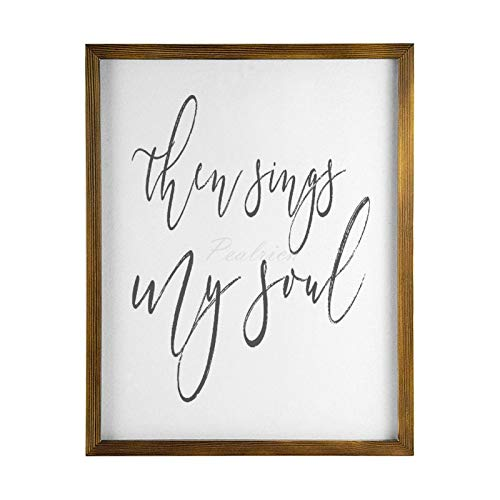 Wood Framed Wall Art for Living Room, Then Sings My Soul Rustic Farmhouse Wooden Signs Home Decor for Bedroom Nursery Dorm 40x50cm