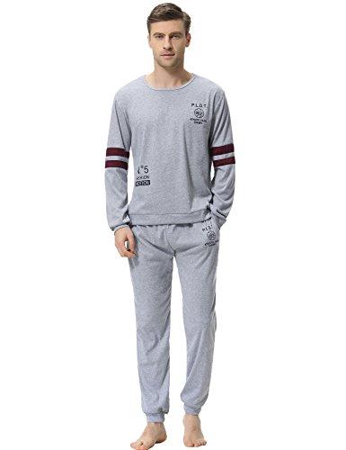 Aibrou Clasico Pijamas Hombre Invierno Algodon Mangas Pantalones Largos Set, Suave,Comodo, Gris, L