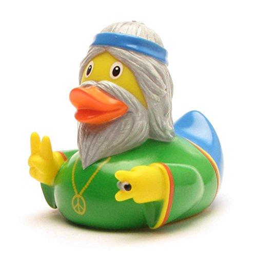 Quietscheente Hippie Mann I Badeente I L: 7,5 cm I inkl. Badeenten-Schlüsselanhänger im Set