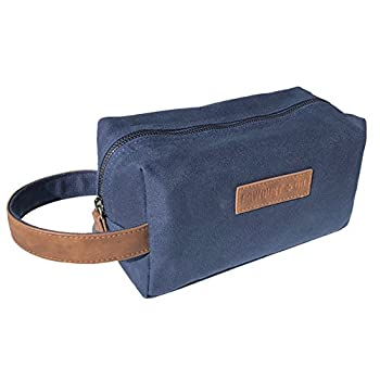 Canvas Travel Toiletry Organizer Shaving Dopp Kit by Sawdust + Oil 9-inch Cosmetic Makeup Bag Shaving Kit Dopp Bag for Men or Women Travel Kit Weekender Tote Groomsmen Gift Fathers Day  Navy Blue