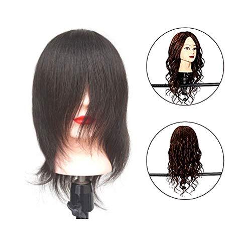 Tête De Mannequin Cheveux 100% Naturels Femme Pour Les Instituts De Beauté Salon De Coiffure Permanent/Apprentissage Du Style De Mariée,Noir,10\