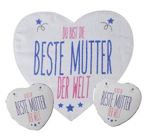 MIK Funshopping Magisches Handtuch Waschlappen Sets - Mitgebsel, Kindergeschenk, Tombola (2er Set Herzen 'Beste Mutter der Welt')