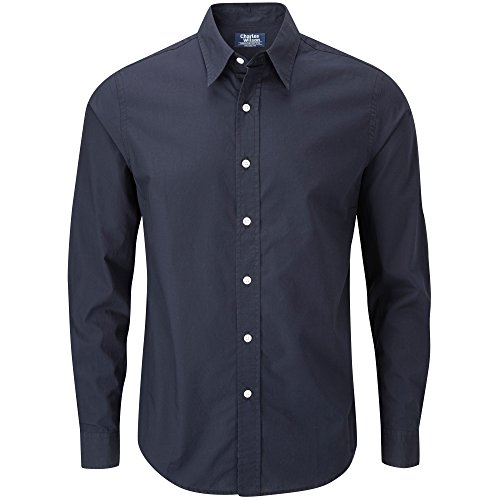 Charles Wilson Camisa Manga Larga Popelina Lisa para Hombre (X-Large, Navy Blue)