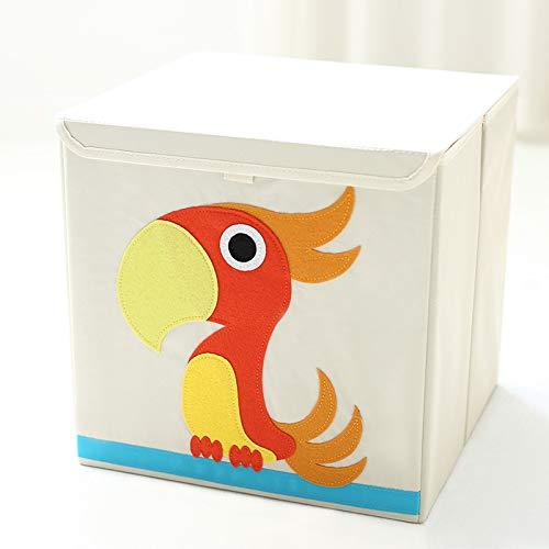 iLeben Kinder Aufbewahrungsbox mit Deckel| Kinder Spielkiste | Faltbare Spielzeugbox | mit Cartoon Tiermuster (Papagei)