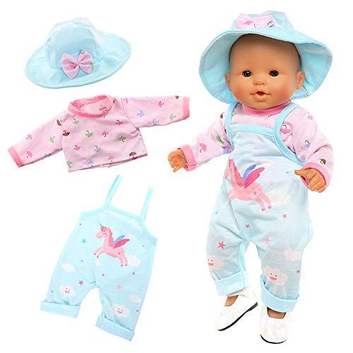Miunana Abito Vestito Blu Stampa Unicorno + Cappello + Scarpe per 36 CM - 42 CM (14 Pollici - 16 Pollici) Baby Dolls Bambola bebé E Altre Bambole, Bambolotti Amore Mio (Non Include Bambola)