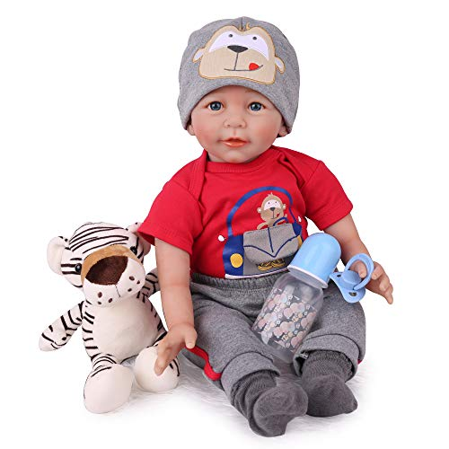 CHAREX Reborn Baby Boy Doll, 22 inch Soft Weighted Body Silicone Baby Doll That Look Real Toy for Kids Age 3+
