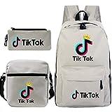 Travel TIK Tok Girls School Casual Daypacks Set Mochila Escolar para Estudiantes + Bolso pequeño + Bolso para bolígrafo Conjunto de Tres Piezas V-7