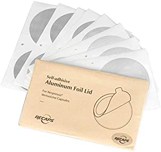 RECAPS Aluminum Foil Lids to Reuse Coffee Capsules Compatible with Nespresso VertuoLine 200 Pcs 62mm