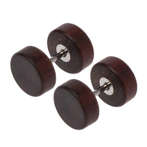 SUSHUN Pendientes de tuerca de madera natural con forma de ilusión y dilatación para el oído, color...