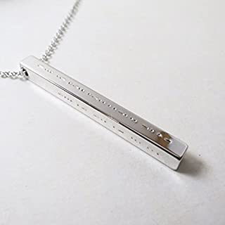 Morse Code Necklace Bar Jewelry Hidden Message 3D Necklace Bridesmaids Gift Mothers Vertical Bar Necklace