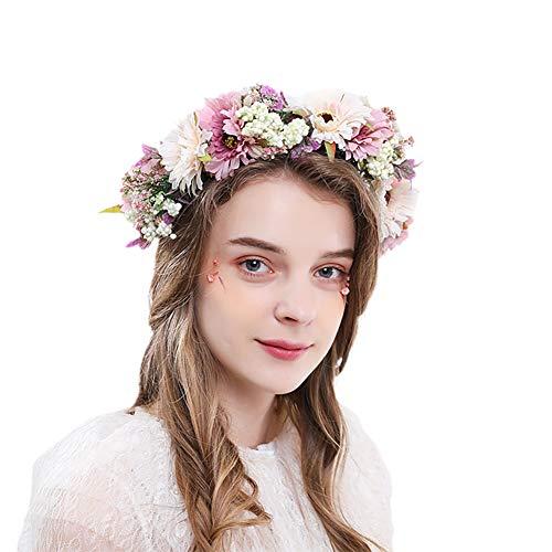 MINI Boutique Fleur Couronne nuptiale bandeau Floral cheveux guirlande réglable mariage Halo fleurs filles rustique couronne pour la maternité Photo mariage