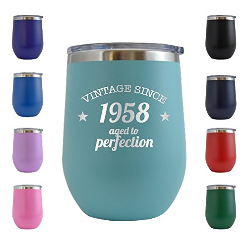 1958 60th Birthday Gifts For Women And Men 12 Oz Wine Glass Tumbler Cup Funny
