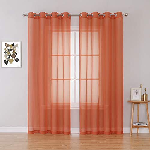 Patio Door Sheer Curtain Panels - Ceiling to Floor Extra Long Voile Drape Curtains Window Treatment for Sliding Glass Door (Burnt Orange,2 Pieces,W 54 x L 95 inches)