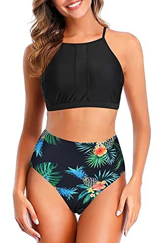 Adisputent High Waisted Swimsuits for Women High Neck Sporty Racerback Bikini Tops Sexy Retro Swimwear Two Piece Bathing Suits, Tropical,M