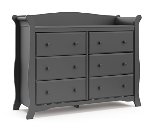 Storkcraft Avalon 6 Drawer Universal Dresser, Gray, Kids Bedroom Dresser with 6 Drawers, Wood and Composite Construction, Ideal for Nursery Toddlers Room Kids Room