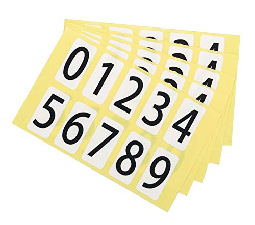 ユポ 数字 ナンバー シール ステッカー 11K095 【小】 番号 ラベル PP加工 防水 耐候性 屋外【11×22mm/片】0〜9の10種各1片×5シート 11K095