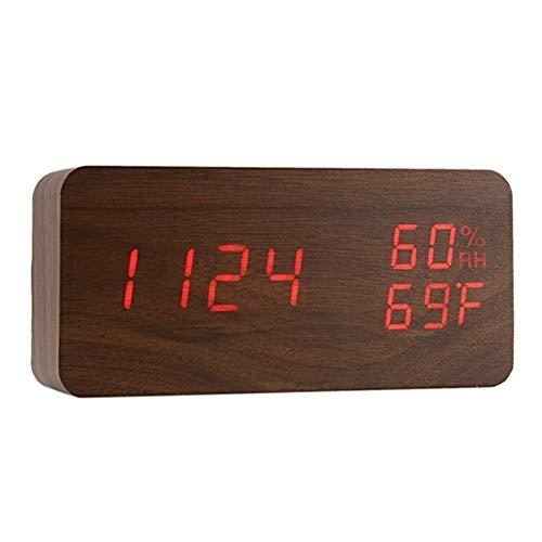 KHBD Estudiantes de casa se levantan Llevado la Temperatura del Despertador electrónico de Humedad de Escritorio Relojes de Mesa Digital, Negro + subtítulos Blancos Dial fácil de Leer (Color : 2)