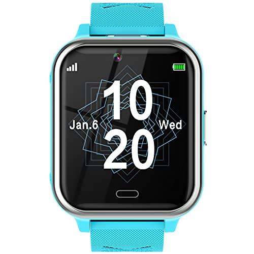 Smartwatch Niños, Reloj Teléfono con 17 Juegos, Cámara, Reproductor de Música, SOS, Linterna, Despertador, Reloj Inteligente Niño con Pantalla Táctil y Protector para Niños y Niñas 4-12 Años (Azul)