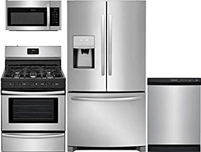 """Frigidaire 4 Piece Kitchen Appliance Package with FFHD2250TS 36"""" French Door Refrigerator FFGF3052TS 30"""" Gas Freestanding Range FFCD2413US 24"""" Built In Full Console Dishwasher and FFMV1645TS 30"""" Over the Range Microwave in Stainless Steel"""