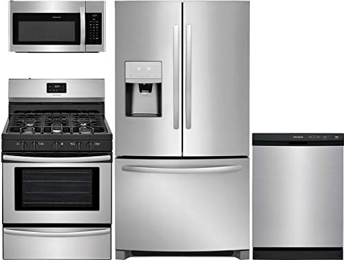 Frigidaire 4 Piece Kitchen Appliance Package with FFHD2250TS 36' French Door Refrigerator FFGF3052TS 30' Gas Freestanding Range FFCD2413US 24' Built In Full Console Dishwasher and FFMV1645TS 30' Over the Range Microwave in Stainless Steel