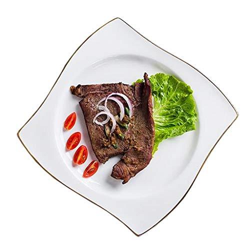SZQ - Piatto creativo per hotel, piano per pesci scanalato, piastra bianca, semplice piastra multifunzione, piatto da dessert, Ceramica, 26.5*20CM