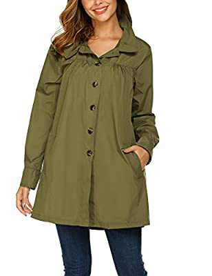 Beyove Womens Rain Jacekt Lightweight Waterproof Outdoor Hooded Raincoat