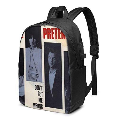 Hdadwy The Pretenders Band17 USB School Backpack Large Capacity Canvas Satchel Casual Travel Daypack for Adult Teen Women Men 17in