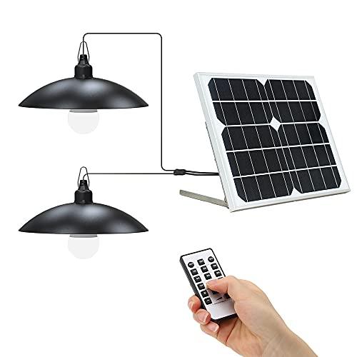 グッドグッズ(GOODGOODS) LED ソーラーライト 2灯 10W 投光器 吊り下げライト 屋外 防水 ライト ソーラー 昼光色 電球色 電球式 分離型 調光 調色 切タイマー機能 リモコン付き ソーラー式照明 電池交換対応式 TYH-B2K