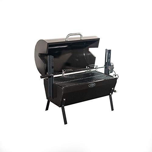 """TITAN GREAT OUTDOORS Small Rotisserie Chicken Roaster Grill 28"""" Spit Rod Stainless Steel Charcoal BBQ with Hood"""