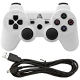 PS3 White Wireless Rechargeable Bluetooth Controller