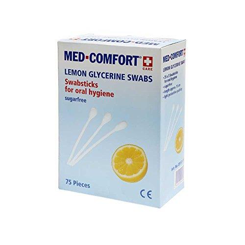 Med-Comfort Lemon-Glycerine Sticks Mundpflegestäbchen Mundhygiene Mundreinigung, 25x3 Stück, 150mm
