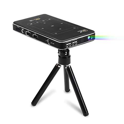 GWX DLP-projector Mini Smart, 4K thuis Android multimedia-projector, ondersteuning van energiebank voeding en verbindt mobiele telefoonfunctie voor thuisbioscoop, kantoor en game-party