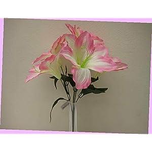 Artificial 2 Bushes Pink Amaryllis Artificial Silk Flowers 16″ Bouquet 6-647pk Bouquet Realistic Flower Arrangements Craft Art Decor Plant for Party Home Wedding Decoration