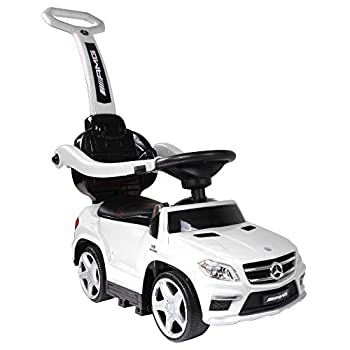 Best Ride-On Cars Baby Toddler 4-in-1 Mercedes Push Car Stroller w/ Led Lights for Ages 1-3 White