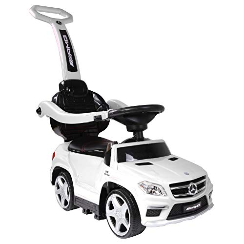 Best Ride-On Cars Baby Toddler 4-in-1 Mercedes Push Car Stroller w/ Led Lights for Ages 1-3, White