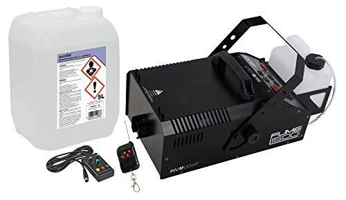 Involight Fume 1500 DMX Nebelmaschinen Feuerwehr Set (kompakte DMX Nebelmaschine mit 1500W mit Nebelschlauch- & Adapter & 5L Nebelfluid)