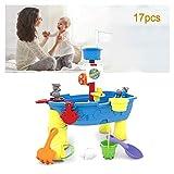 子供の正方形の砂と水センター-おもちゃの砂と水のゲームテーブルの内側と外側、海賊船、ウォータースライドと水回転ホイール、多数のアクセサリー、砂や水のゲームをプレイできます