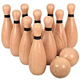 Outdoor Giant Lawn Bowling Games for Family Kids and Adults Backyard Skittles Wooden Yard Game Hardwood Set with 10 Pins 7.7 inches 2 Balls 2.95 inches
