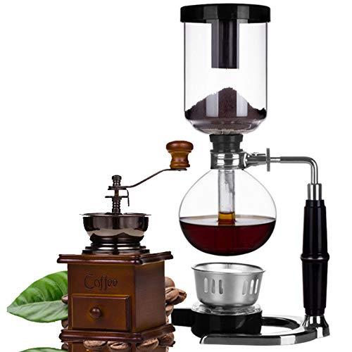 BNMY Siphon Kaffeemaschine 5-Tassen Kaffeesiphon Tischplatte Siphon (Siphon) Kaffeemaschine Mit Handmühle,Braun
