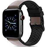 FITWORTH Taste Series, High End Business Watch Band Compatible with Apple Watch, Silicone Rubber plus Genuine Leather, Simple and Neat (Grey/Black, 42/44)