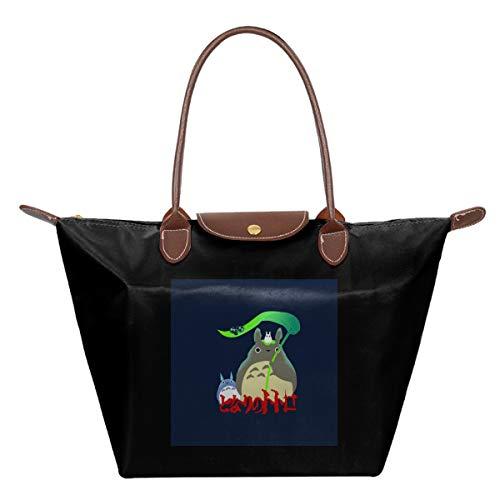 Totoro Best Neighbour Green Leaf Spirits Waterproof Leather Folded Messenger Nylon Bag Travel Tote Hopping Folding School Handbags