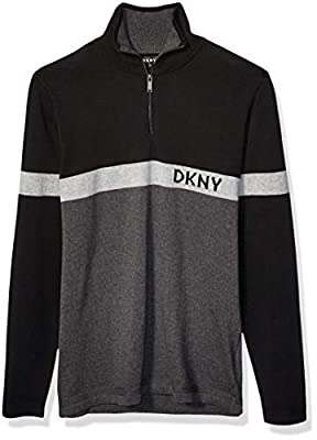 DKNY Men's Colorblock Long Sleeve Logo Cotton 1/4 Zip Sweater, Jet Heather, Small from DKNY