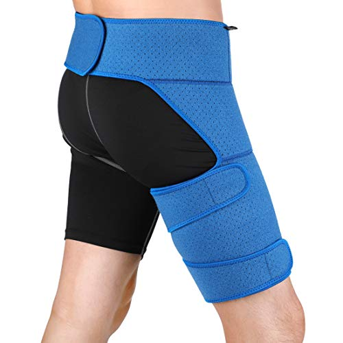 Zerone Leistenstütze Wrap Kompression Hüftstütze Oberschenkelmanschette Einstellbare Schmerzlinderung für Hüfte, Leiste, Quad, Oberschenkel Unterstützung für Männer Frauen