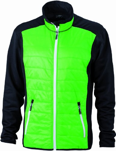 James & Nicholson Herren Jacke Jacke Stretchfleece Men's Hybrid Jacket grün (black/green/white) Medium