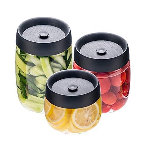 QYT-Recipiente Redondo con Tapa para envasar recipientes al vacío, Transparente,Cerrar y...