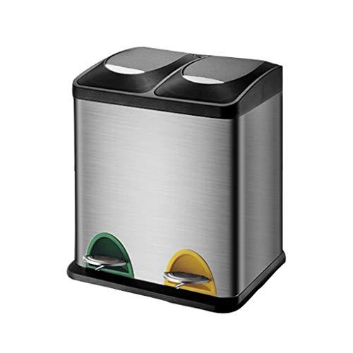 Afvalverzamelaar Grote 2 in 1 Eco Pedaal Bin, Voetbediende Dubbele Afval Recycling Bin met 2 vakken, Vuilnisbak voor Keuken Kantoor Outdoor Afvalscheider