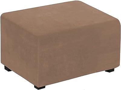 AuroDeco Velvet Plush 1 Piece Stretch Ottoman Cover Folding Storage Stool Furniture Protector Soft Rectangle slipcover with Elastic Bottom, Machine Washable (Camel)