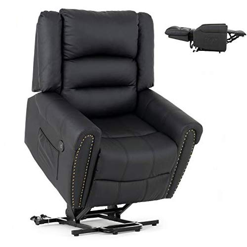 Mecor Power Lift Chair Lift Recliner for Elderly w Dual Motor PU Leather Lay Flat Sleeper Recliner with Massage Heat Vibration Remote Control Living Room Chair