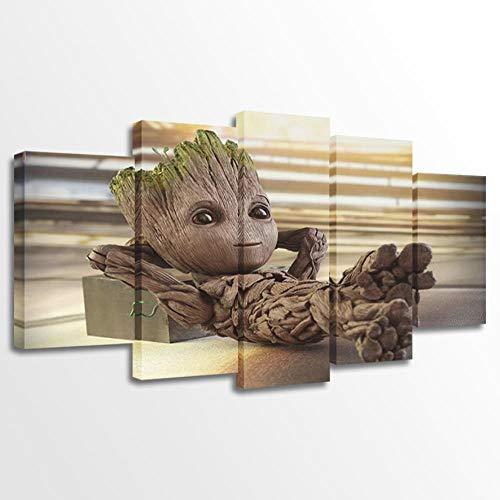 lv5panel Leinwanddrucke Leinwand Malerei Vintage Wandkunst Gedruckt Bilder 5 Panel Poster Baby Groot Foto Für Wohnzimmer Dekor-Size3-Gerahmt