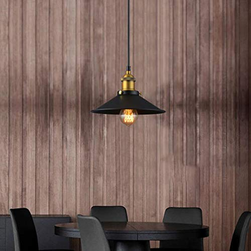 Wowlela Vintage Industrial Colgante de Luz Negro Metal Pantallas de Iluminación Retro Clásico Edison Lámpara de Techo Moderna Iluminación